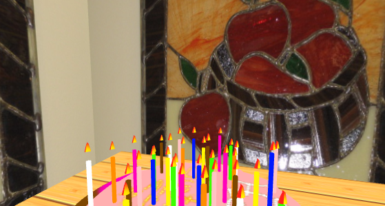 An Apple A Day - Stained Glass artwork by Julie Galloway, and birthday cake illustration