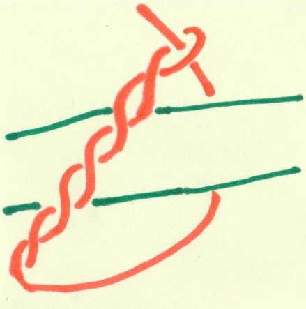 timber hitch drawn in marker