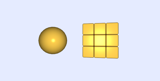 a golden sphere and golden stack of cubes