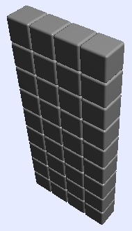 stack of 36 silver cubes: 9 high, 4 wide, and 1 deep