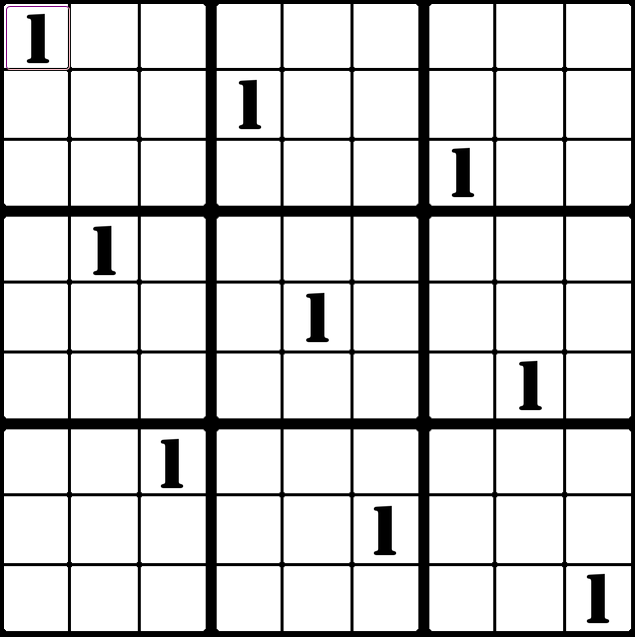 a 9x9 sudoku board with all nine of the 1's filled in prototypical positions